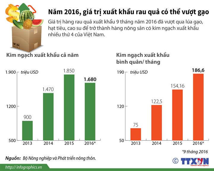 Năm 2016, giá trị xuất khẩu rau quả có thể vượt gạo