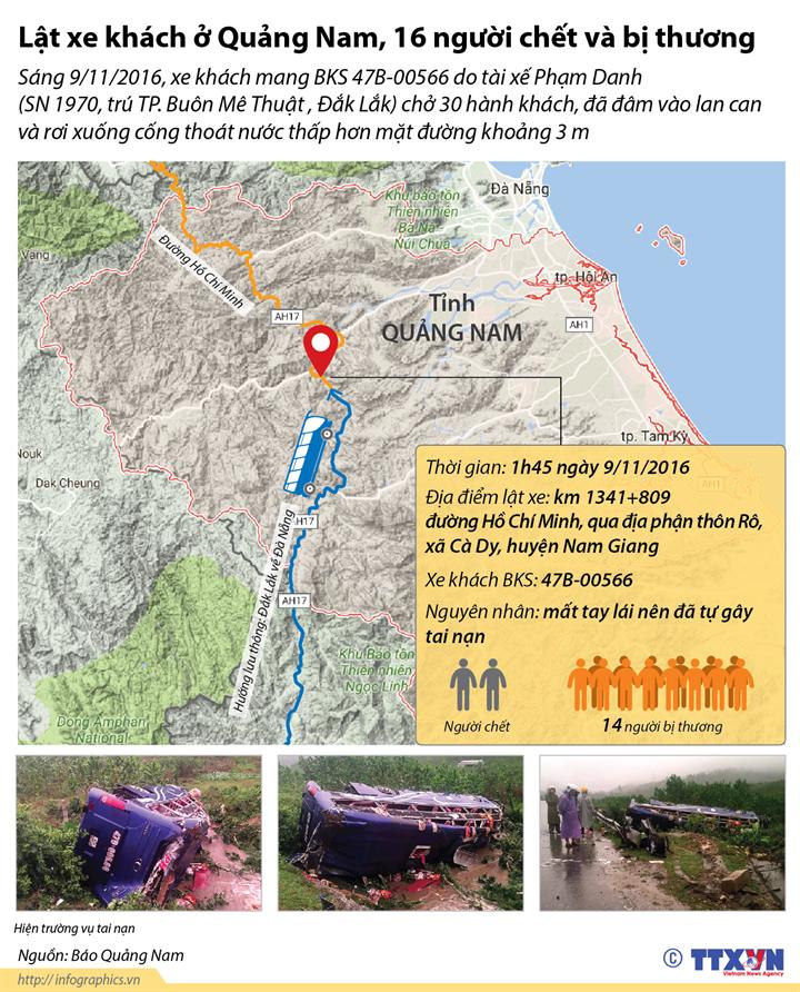 Lật xe khách ở Quảng Nam, 16 người chết và bị thương