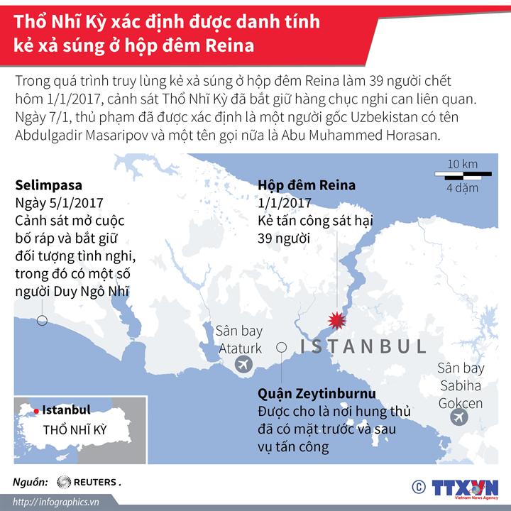 Thổ Nhĩ Kỳ xác định được danh tính kẻ xả súng ở hộp đêm Reina