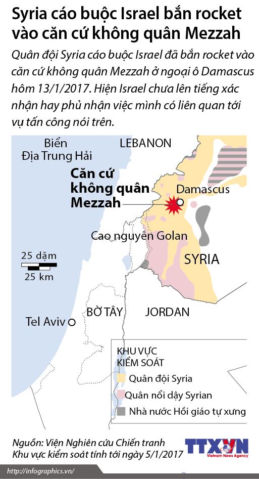 Syria cáo buộc Israel bắn rocket vào căn cứ không quân Mezzah