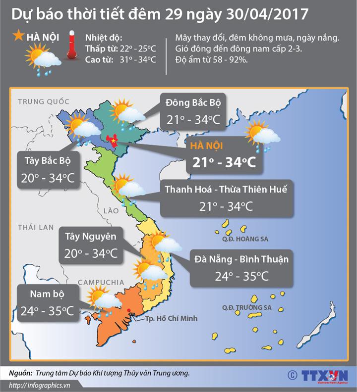 Dự báo thời tiết đêm 29 ngày 30/4:  Bắc Bộ, Trung Bộ tăng nhiệt