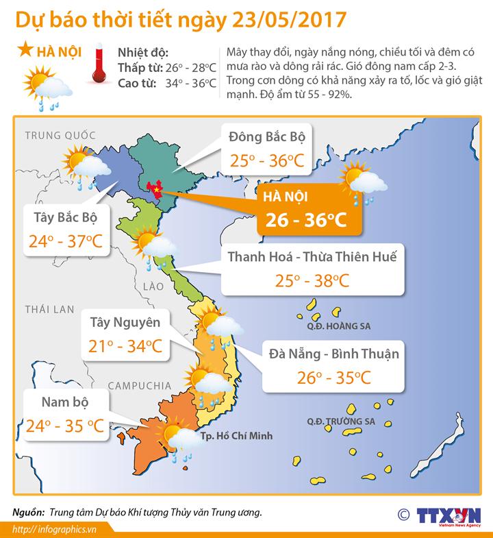 Dự báo thời tiết ngày 23/05/2017: Khu vực Hà Nội chiều tối và đêm có mưa rào và dông