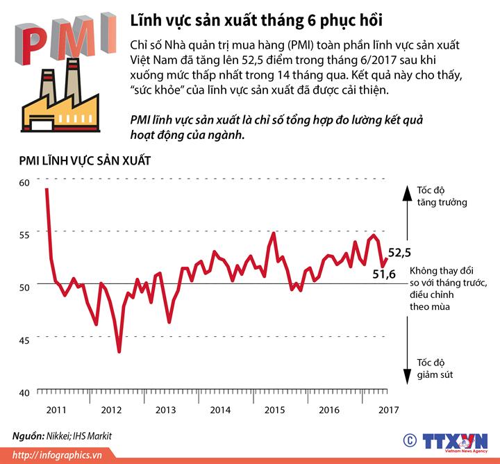 PMI lĩnh vực sản xuất tháng 6 phục hồi