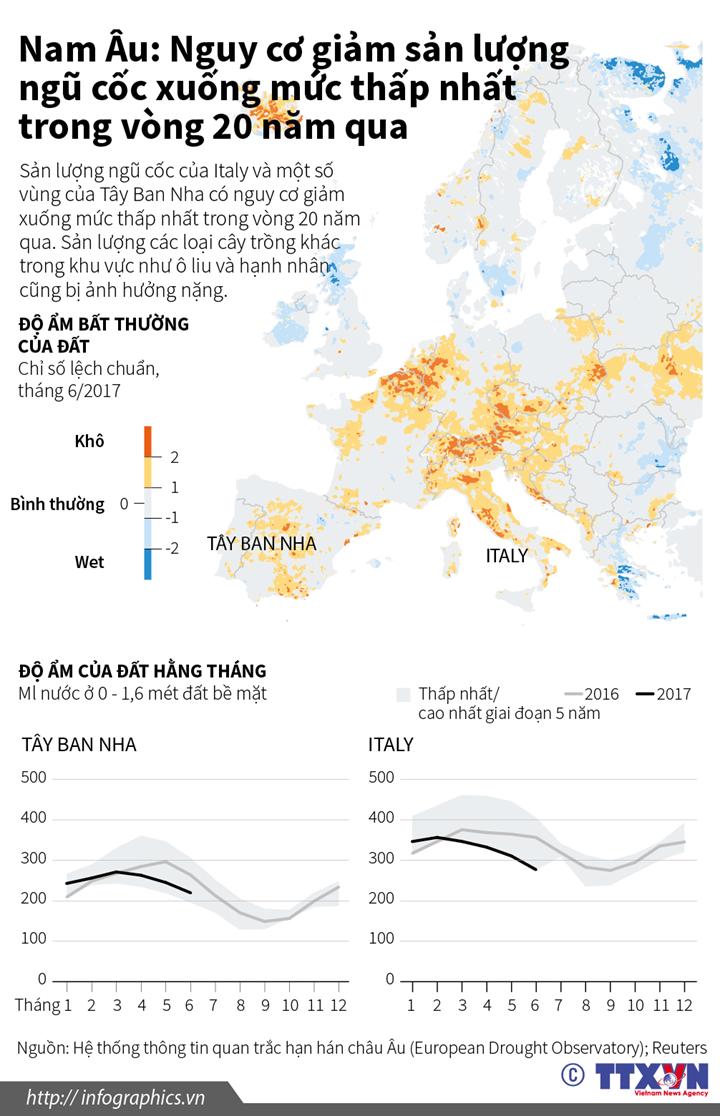 Nam Âu: Nguy cơ giảm sản lượng ngũ cốc xuống mức thấp nhất trong vòng 20 năm qua