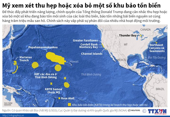 Mỹ xem xét thu hẹp hoặc xóa bỏ một số khu bảo tồn biển