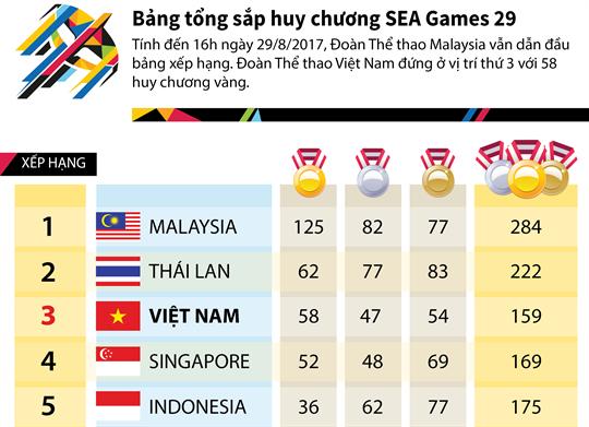 Bảng tổng sắp huy chương SEA Games 29