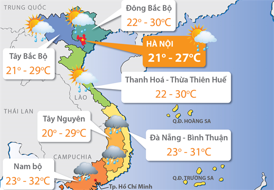 Dự báo thời tiết 20/10/2017: Bắc Bộ tăng nhiệt, Trung Bộ giảm mưa