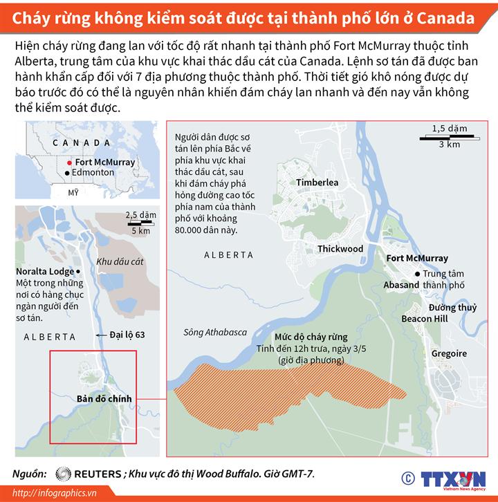 Cháy rừng tại Canada khoảng 80.000 người dân phải sơ tán