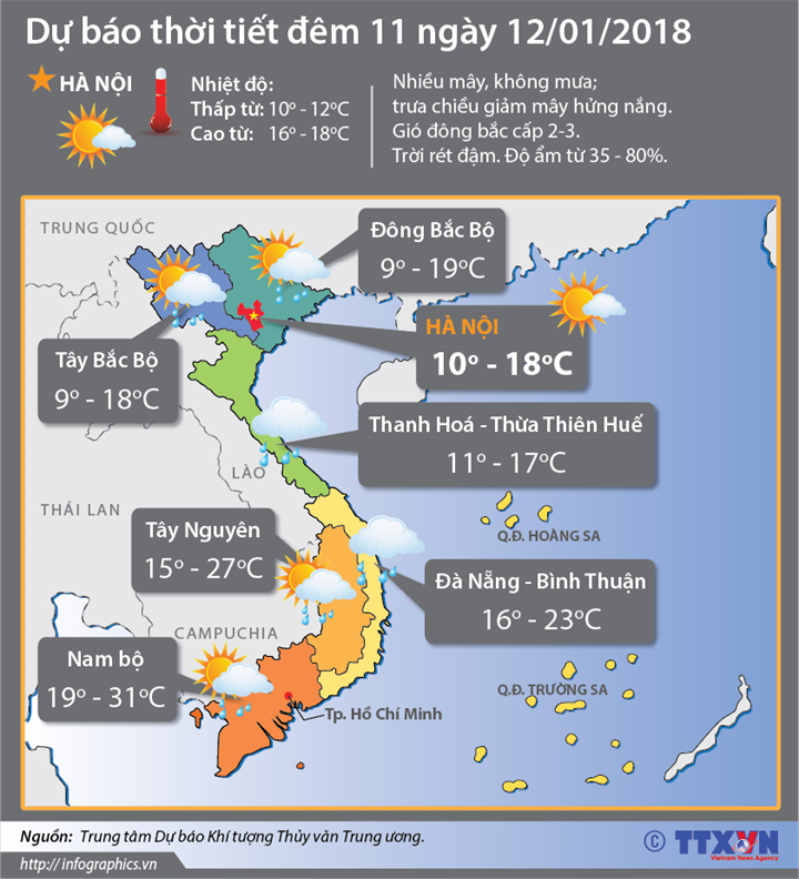 Dự báo thời tiết đêm 11 ngày 12/1: Đêm 11/1 không khí lạnh tiếp tục tăng cường xuống phía Nam gây mưa dông