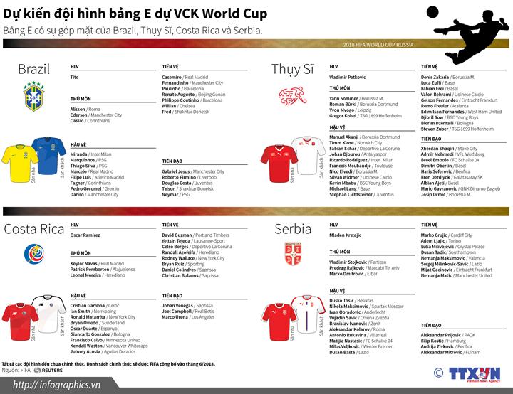 Đội hình các đội dự VCK World Cup 2018 (Bảng E)
