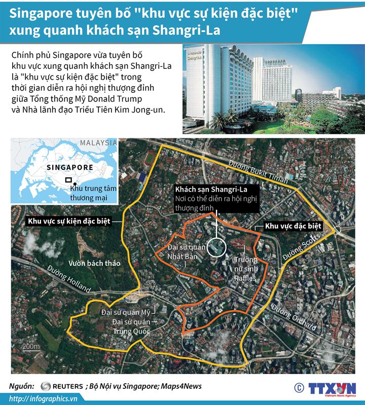 """Singapore tuyên bố """"khu vực sự kiện đặc biệt"""" xung quanh khách sạn Shangri-La"""