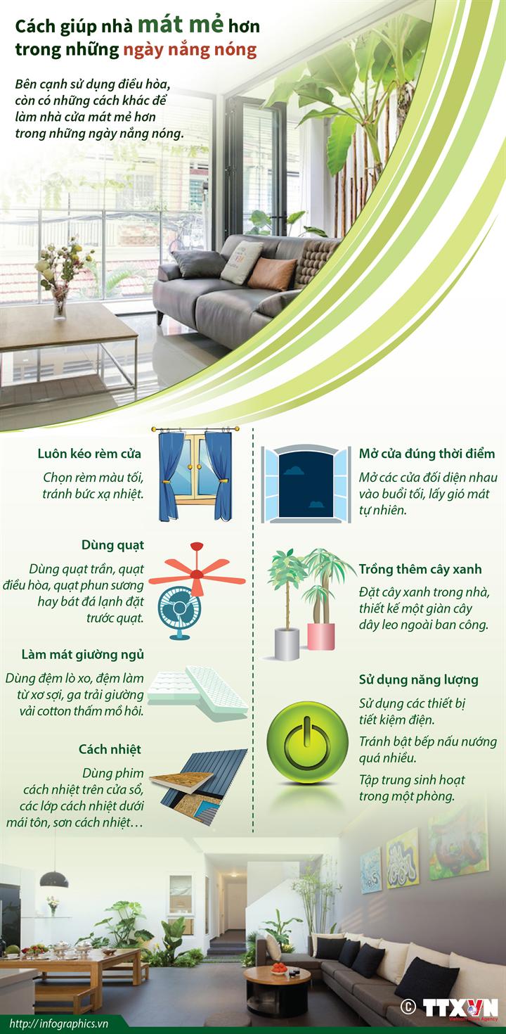 Cách giúp nhà mát mẻ hơn trong những ngày nắng nóng