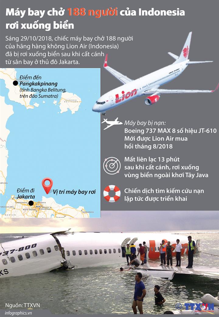 Máy bay chở 188 người của Indonesia rơi xuống biển