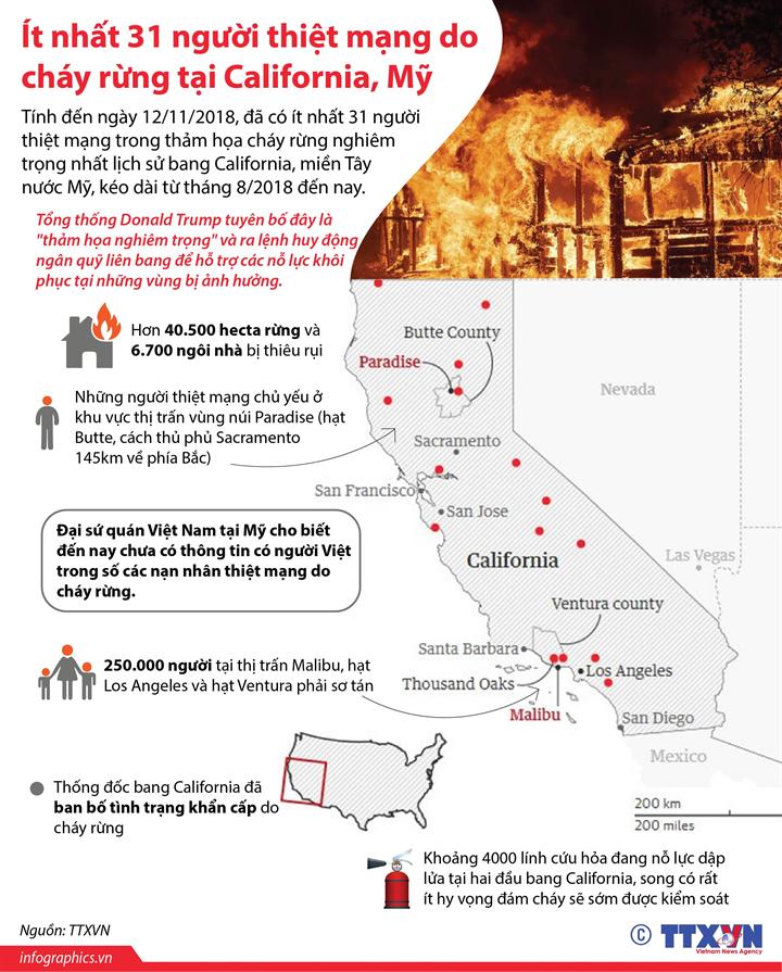 Ít nhất 31 người thiệt mạng do cháy rừng tại California, Mỹ