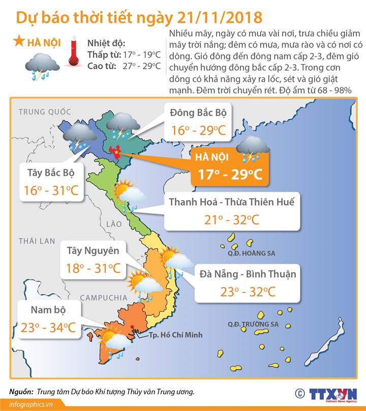 Dự báo thời tiết ngày 21/11/2018: Chiều tối và đêm 21/11, không khí lạnh sẽ ảnh hưởng đến các tỉnh Bắc Bộ, Bắc Trung Bộ