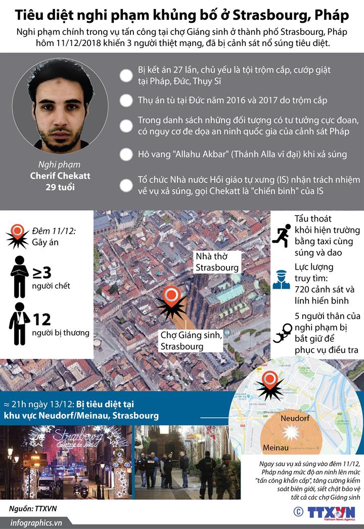 Tiêu diệt nghi phạm khủng bố ở Strasbourg, Pháp
