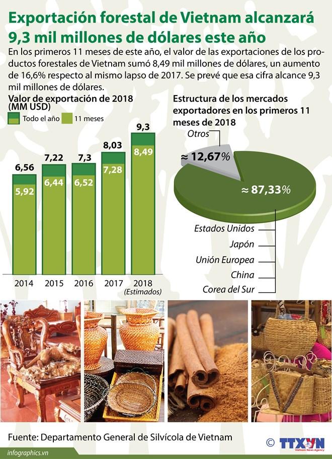 Exportación forestal de Vietnam alcanzará 9,3 mil millones de dólares este año