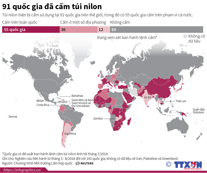 91 quốc gia đã cấm túi nilon