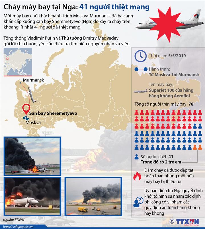 Cháy máy bay tại Nga: 41 người thiệt mạng