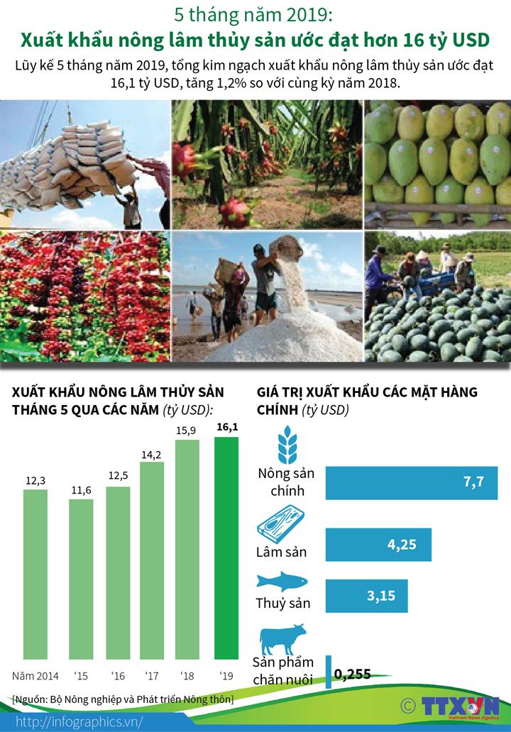5 tháng năm 2019: Xuất khẩu nông lâm thủy sản ước đạt hơn 16 tỷ USD