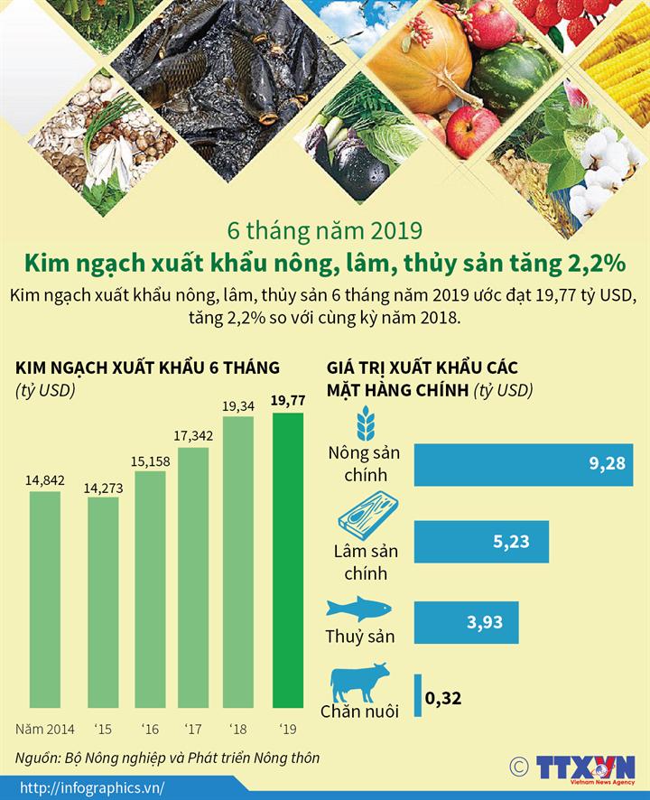 6 tháng năm 2019: Kim ngạch xuất khẩu nông, lâm, thủy sản tăng 2,2%