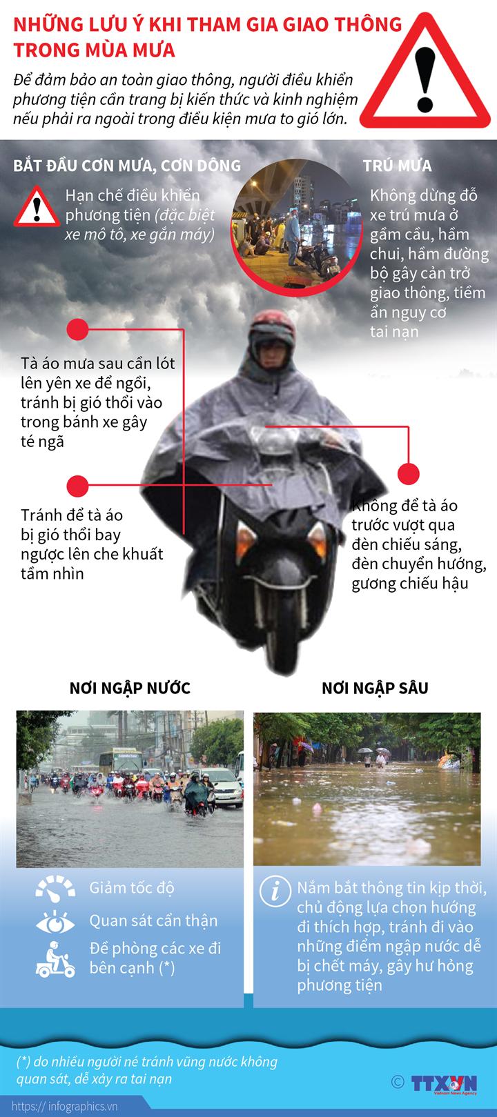 Những lưu ý khi tham gia giao thông trong mùa mưa