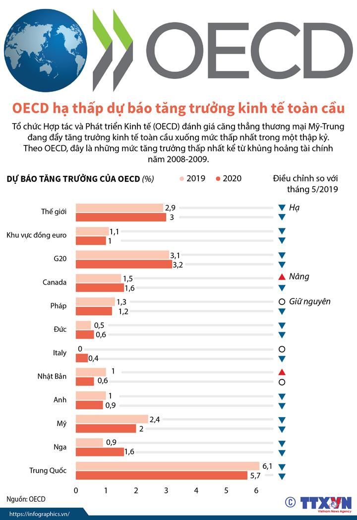 OECD hạ thấp dự báo tăng trưởng kinh tế toàn cầu