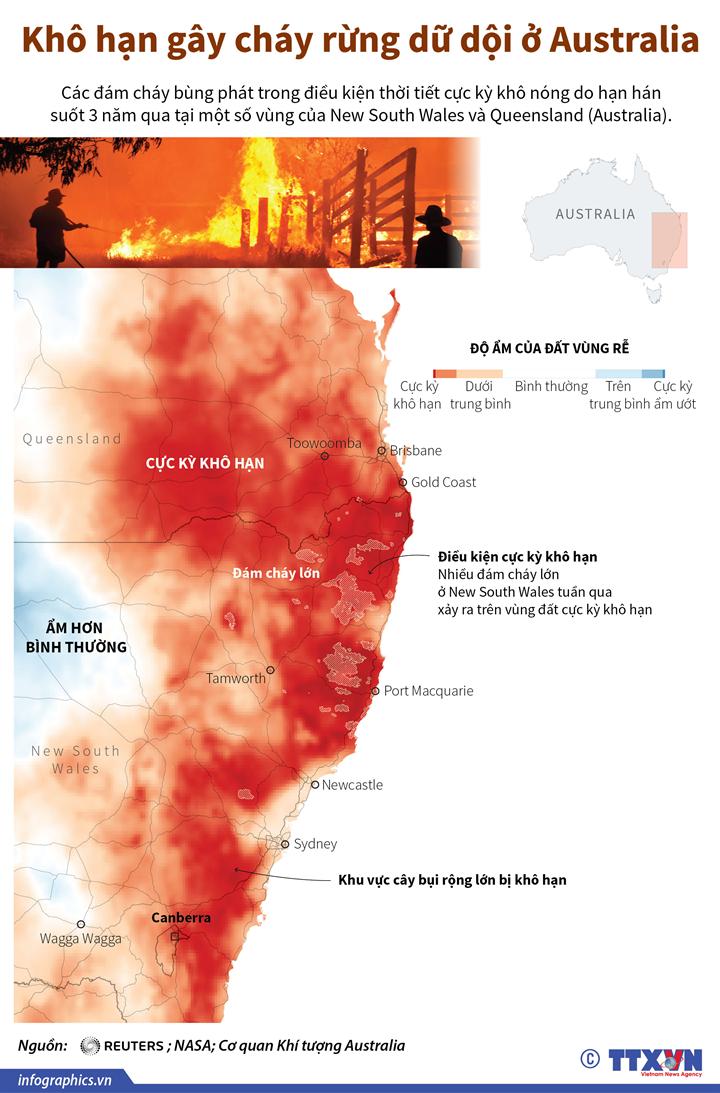 Khô hạn gây cháy rừng dữ dội ở Australia