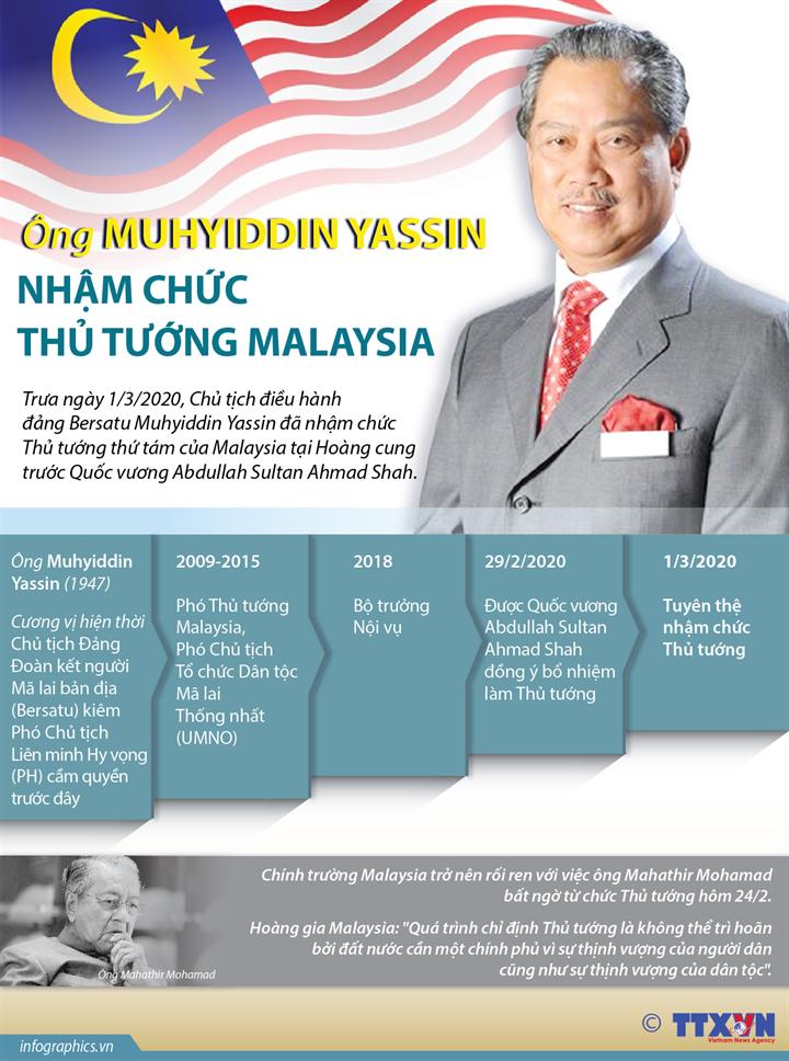 Ông Muhyiddin Yassin nhậm chức Thủ tướng Malaysia