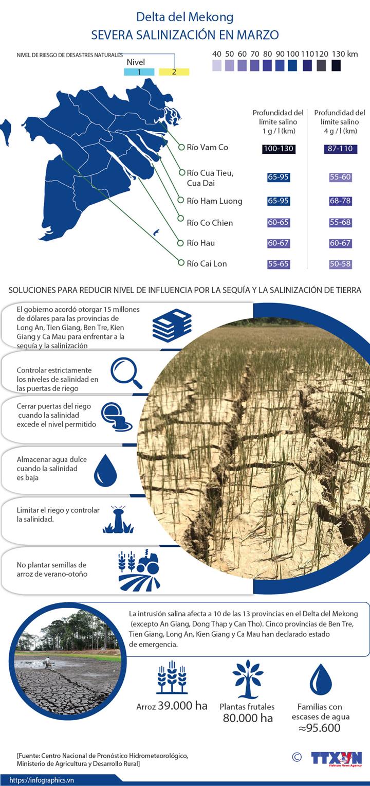 Delta del Mekong enfrenta su peor salinización en marzo