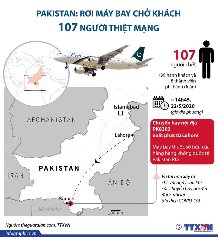 Pakistan: Rơi máy bay chở khách, 107 người thiệt mạng