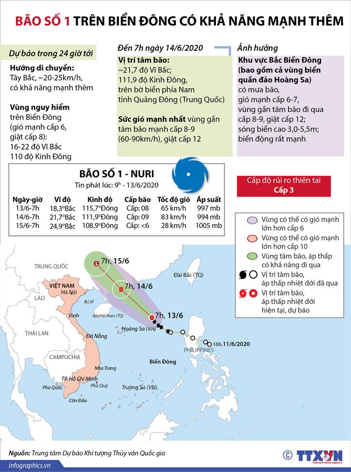 Bão số 1 trên biển Đông có khả năng mạnh lên