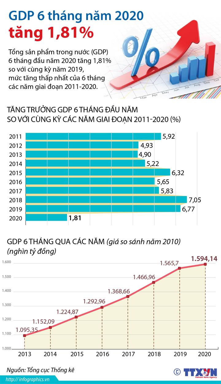 GDP 6 tháng năm 2020 tăng 1,81%