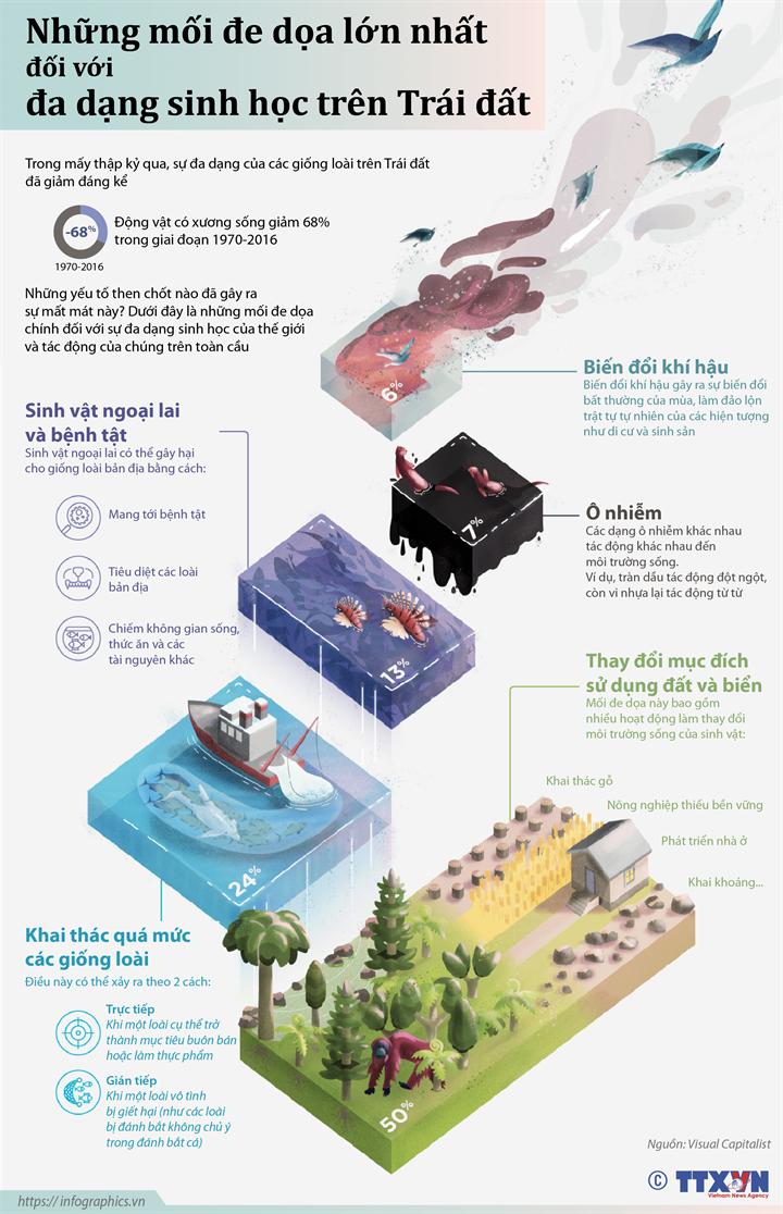 Những mối đe dọa lớn nhất đối với đa dạng sinh học trên Trái đất