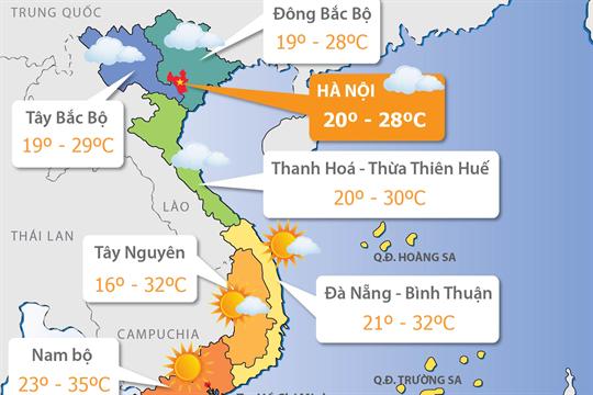 Dự báo thời tiết ngày 15/2/2019: Bắc Bộ tiếp tục lạnh về đêm và sáng sớm, Nam Bộ có nơi nắng nóng