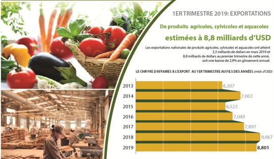 Exportations des produits agricoles, sylvicoles et aquatiques en baisse de 2,9% au premier trimestre