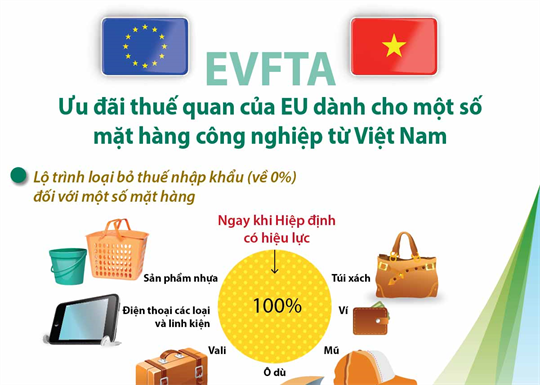 EVFTA: Ưu đãi thuế quan của EU dành cho một số mặt hàng công nghiệp từ Việt Nam