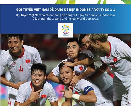 Đội tuyển Việt Nam dễ dàng đè bẹp Indonesia với tỷ số 3-1
