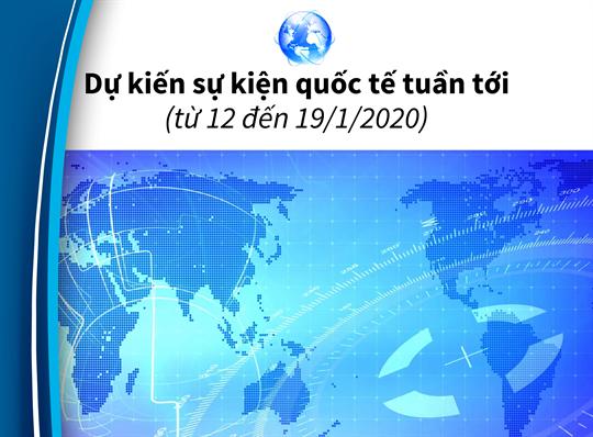Dự kiến sự kiện quốc tế tuần tới (từ 12 đến 19/1/2020)