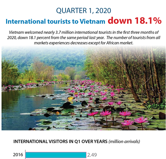 International tourists to Vietnam down 18.1% in Q1