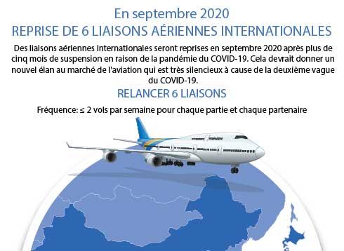 Reprise de 6 liaisons aériennes internationales en septembre