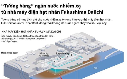 """""""Tường băng"""" ngăn nước nhiễm xạ từ nhà máy điện hạt nhân Fukushima Daiichi"""