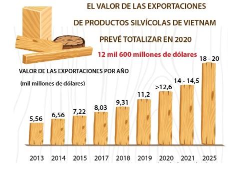 El valor de las exportaciones de productos silvícolas de Vietnam totalizará más de 12 mil millones de dólares en 2020