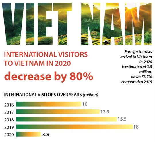 International visitors to Vietnam in 2020 decrease by 80%