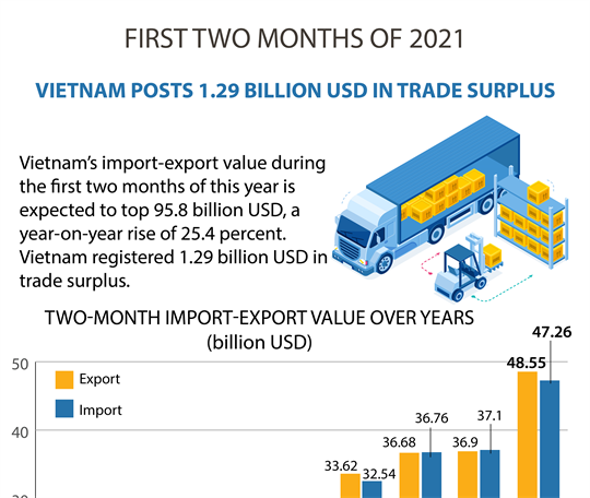 Vietnam posts 1.29 billion USD in trade surplus during the first two months of 2021