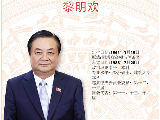黎明欢当选越南农业与农村发展部部长