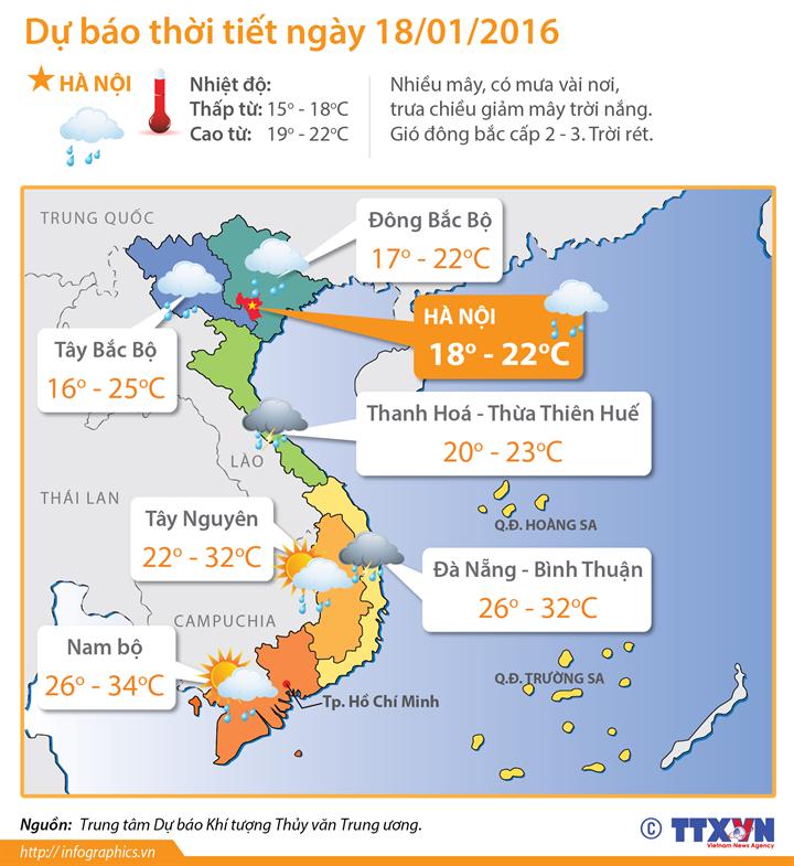 Dự báo thời tiết 18/1: Các tỉnh phía Đông Bắc Bộ và Thanh Hóa trời tiếp tục rét