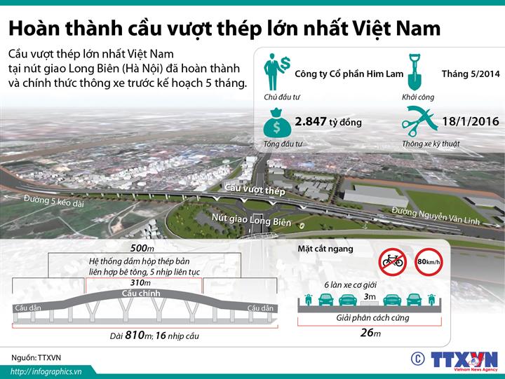 Hoàn thành cầu vượt thép lớn nhất Việt Nam
