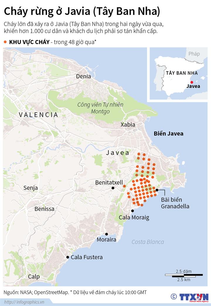 Cháy rừng ở Javea, Tây Ban Nha
