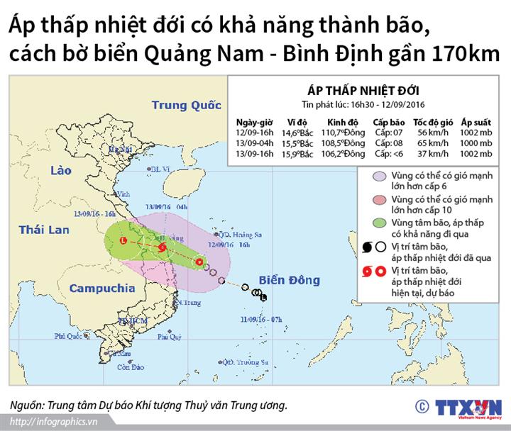 Áp thấp nhiệt đới cách bờ biển Quảng Nam - Bình Định gần 170 km